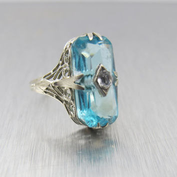 14K Art Deco Ring, Aquamarine Blue, Vintage White Gold Engagement Ring, Bridal Wedding Jewelry, Size 4