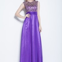 Beautifly Flower Embroidered Purple Chiffon Evening Bridesmaid Ball Gown