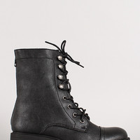 Lace Up Round Toe Chunky Heel Combat Boot