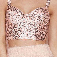 Pink Leopard Print Sleeveless Cropped Top
