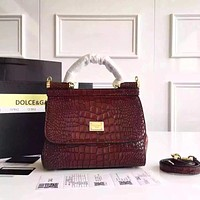 D&G DOLCE & GABBANA WOMEN'S LEATHER MISS SICILY HANDBAG SHOULDER BAG