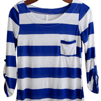 Perfect Everyday Shirt, Cobalt Blue Stripes (New For Fall)