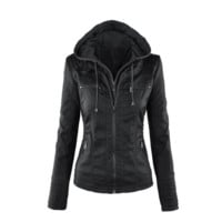 Womens Casual Motorcycle Fleece Hoodie Faux Leather Jacket