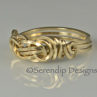 Square Gold Knot Ring Custom Size
