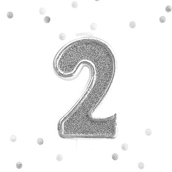Silver Glitter 2nd Birthday Candle Number 2 Silver White Two Number Cake Topper
