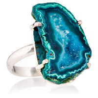 Green/Blue Drusy Prong Ring, Stone & Novelty Rings