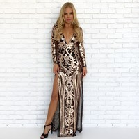 Luxe Rose Gold Sequin Maxi Dress