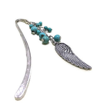 Silver Angel Wing Bookmark, Turquoise Bookmark, Beaded Bookmark, Blue Bookmark, Booklovers, Student Gift, Teacher Gift, Friendship Gift