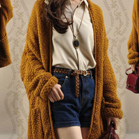 Long Sleeve Loose Knit Cardigan Sweater