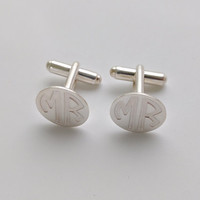 Personalized Groomsmen Cufflinks,Monogram CuffLinks,Silver Wedding Cufflinks,Monogrammed Cufflinks for Groom,Engraved Cuff links