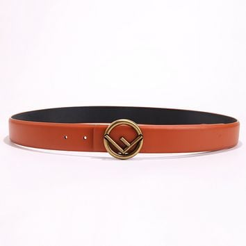 Fendi Fashion New F Letter Buckle Women Men Leisure Belt Orange