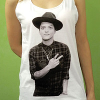 Bruno Mars Cowboy Hat Top 10 Billboard - Womens Tank Top Printed White T Shirt Pop Rock Singer Fan Light and Soft