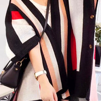 Stripe Knitted Side Slit Open Front Cardigan