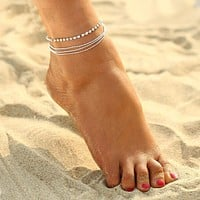 1 PC Multi-layer Sexy Crystal Anklet Foot Chain Summer Bracelet Charm Anklets Beach Foot Wedding Jewelry Gift