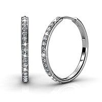 """Bianca """"Fair"""" 18k White Gold Plated Hoop Earrings with Swarovski Crystals"""