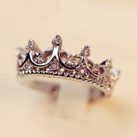 New Fashion Queen's Silver Crown Rings For Women Punk Brand Crystal Jewellery Love Rings Femme Bijoux wedding engagement rings
