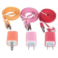 Fashion Simple 6pcs/lot 3pcs USD Cords and Chargers for Iphone 4/4s