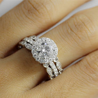 14K White Gold 6.5mm Forever Brilliant Moissanite  Micropave Halo Moissanite Engagement Ring and Two Diamond Rings Set