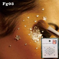 FG03 Clear Star stick on face Rhinestone Gem, best Choice for Festival Wedding Boho Floral Makeup
