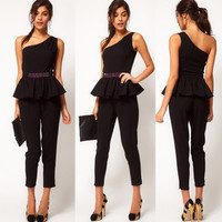 Plus Size XXXL 2015 New Fashion Single Shoulder Sexy Jumpsuit Women Novelty Overall Sequins Ruffles Rompers Womens Jumpsuit = 1956710596