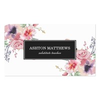 Boho Watercolor Floral Bouquets Business Card