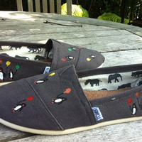 Hand Painted Toms Penguins Holding Balloons by ByBotticelli