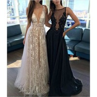 Sexy V-Neck Lace Party Dress Women Cotton Lace Embroidery Long Maxi Dresses Strap Backless Summer Dress robe femme ete