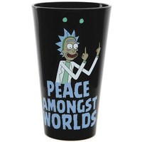 Rick & Morty Peace Among Worlds Pint Glass - Black