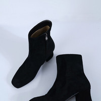 Suede Square Short Heel Boots