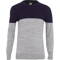 River Island Boys grey lightweight cable knit sweater