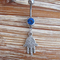 Belly Button Ring - Body Jewelry - Silver Hamsa Hand with Dark Blue Gem Stone Belly Button Ring