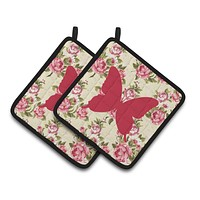 Butterfly Shabby Chic Yellow Roses  Pair of Pot Holders BB1046-RS-YW-PTHD