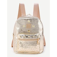 Studded Detail Crocodile Backpack