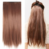 """TOOGOO Fashionable 23"""" Light Brown Straight Full Head Clip In Hair Extensions Perm Wash"""
