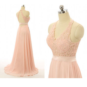 Floor Length Halter Chiffon Prom Dresses Beaded Bodice with Applique pst0008