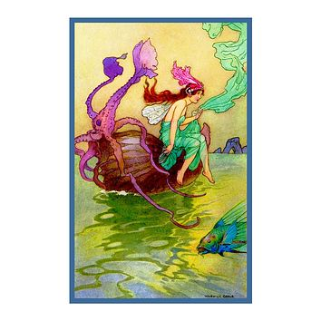 A Fairy in her Nautilus Boat Warwick Goble Counted Cross Stitch Chart Pattern