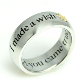 I Made A Wish And You Came True Stainless Steel Gold Star Ring
