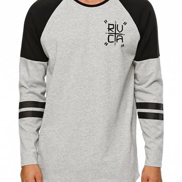 RVCA Hustle Raglan Long Sleeve Knit Shirt - Mens Shirt - Gray