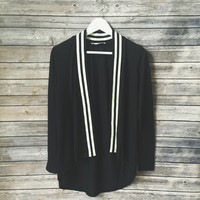Collegiate Stripe Cardigan (Black)