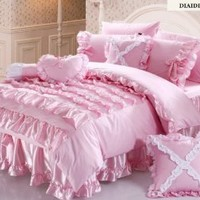 FADFAY,Korean Bedding Set,Beautiful Princess Bedding Sets,Luxury Pink Ruffle Bedding Set,Twin Queen King Bed Cover Set,4Pcs (Queen Bedding Sets)