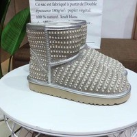 DCCK UGG pearl rhinestone warm low tube snow boots