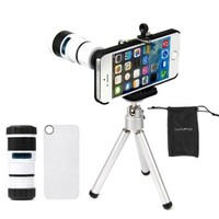 iVAPO Iphone 5 Camera Lens Kit Including 8x Telephoto Lens / Mini Tripod / Universal Phone Holder / Hard Case for Iphone 5 / Velvet Phone Bag /Microfiber Cleaning Cloth - Awesome Accessories and Attachments for Your Apple Iphone 5 Camera (White)