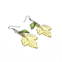 Dangly green leaf earrings - fall foliage - pale green autumn inspired earrings by Sparkle City jewelry