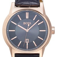 Men's BOSS 'Architecture' Round Leather Strap Watch, 44mm