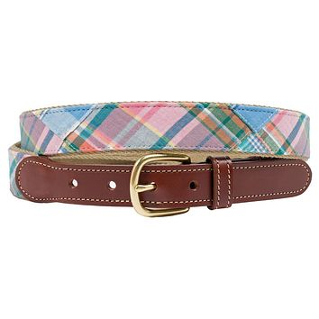 Sailor's Delight Patch Madras Leather Tab Belt by Country Club Prep