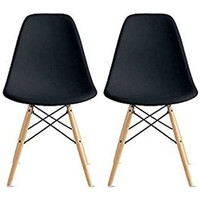 2xhome - Set of Two (2) Black - Eames Style Side Chair Natural Wood Wooden Legs Eiffel Dining Room Chairs No Arm Arms Armless Molded Plastic Seat Dowel Leg
