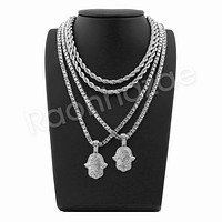 "HANDS OF HAMSA SILVER PENDANT W/ 24"" ROPE /18"" TENNIS CHAIN NECKLACE"