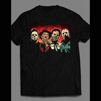 HORROR MOVIE KILLERS, LEATHERFACE, FREDDY, JASON, MICHAEL MYERS SHIRT