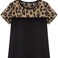 Leopard V-Neck Short Sleeves T-Shirt
