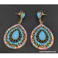 Resin beads antique gold earring